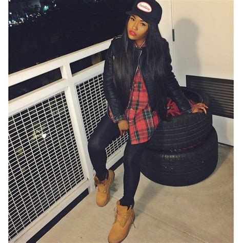 Dope Swag Baddie Bad Bitch Plaid Shirt Leather Quilted Biker Jacket Leggings Timberland Boots ...