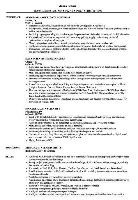 Data Scientist Resume by Data Manager Data Scientist Resume Sles Velvet