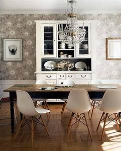 gray flower wallpaper, farm table, midcentury slope chair ...