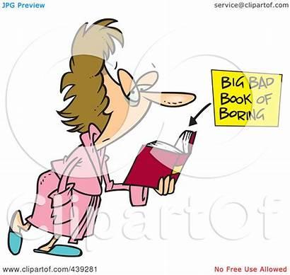 Bored Boring Reading Cartoon Clipart Person Woman