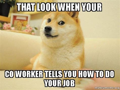 How Do You Make A Meme With Your Own Picture - that look when your co worker tells you how to do your job doge make a meme