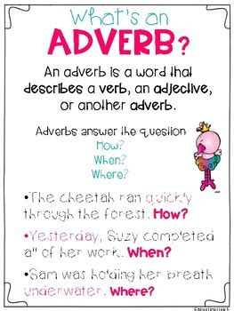 Adverbs & Adjectives Freebie By More Time 2 Teach Tpt