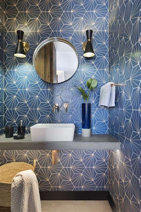 bathroom design ideas  blue starburst tile demands