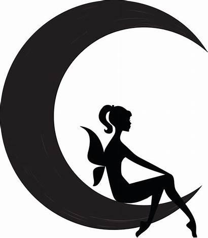 Fairy Moon Silhouette Clipart Fairies Crescent Sitting