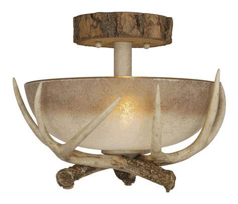 Rustic Antler Semi Flush Ceiling Light   12 Inch