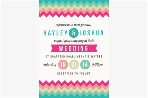 colorful chevron wedding invitation invitation templates