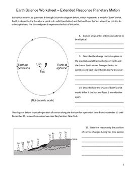 high school earth science worksheet rotation and revolution tpt