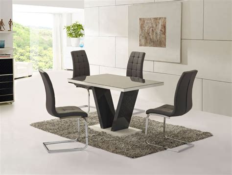 high glass dining table grey glass high gloss dining table and 4 chairs set