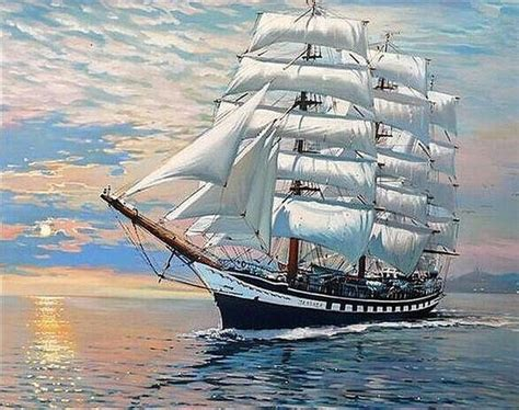 big sailing boat  diamond painting kits oloee