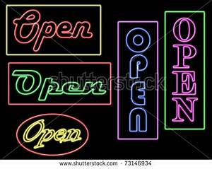 Five Neon Open Signs In Different Colours And Fonts Stock
