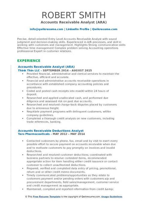 Account Receivable Resume Sle by Accounts Receivable Analyst Resume Sles Qwikresume