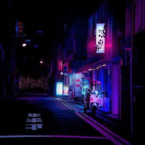 saturated neon colours heightened cityscape bicycle