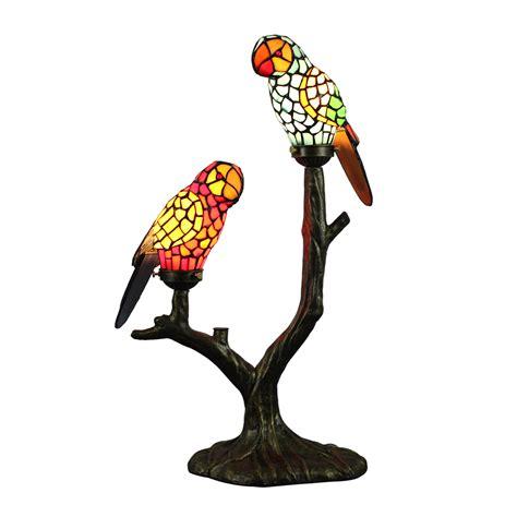 tiffany table lamp parrot lampshade european pastoral