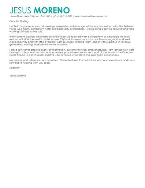 hotel hospitality cover letter exles livecareer