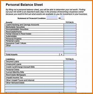 Personal balance sheet example authorization letter pdf for Household balance sheet template