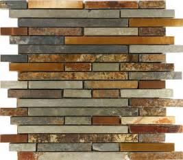rustic kitchen backsplash tile 10sf rustic copper linear slate blend mosaic tile kitchen backsplash spa ebay