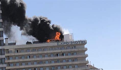 espectacular incendio en el hotel expo de barcelona cerca