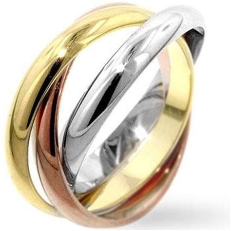 three tone triple russian wedding band rolling ring rose gold sterling silver ebay