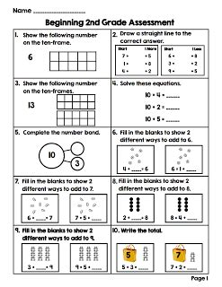 2nd grade pre math assessment use for assessment to show growth from the beginning to the end