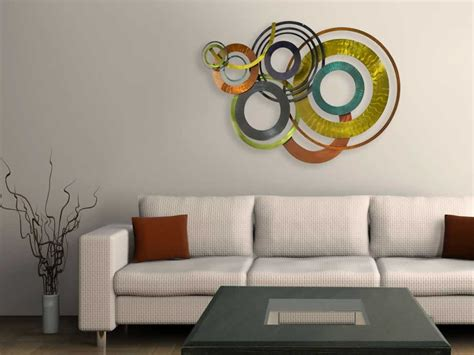 color rings metallic wall art multicolor abstract plaque