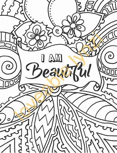 Coloring Pages Positive Words Affirmations Printable Adult