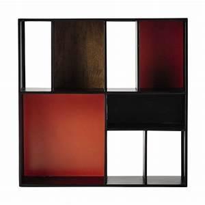Wandregal Aus Metall : wandregal aus metall b 85 cm schwarz orange arty maisons du monde ~ Markanthonyermac.com Haus und Dekorationen