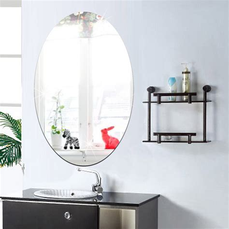 27x42cm Bathroom Selfadhesive Removeable Oval Mirror Wall