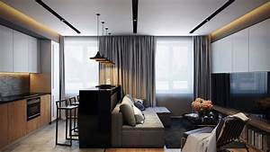 Cozy White Black Wall With Glass Window And Contemporary ...