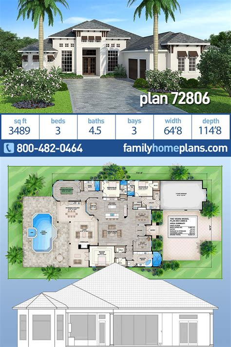 House Plan 72806 Mediterranean Style with 3489 Sq Ft 3