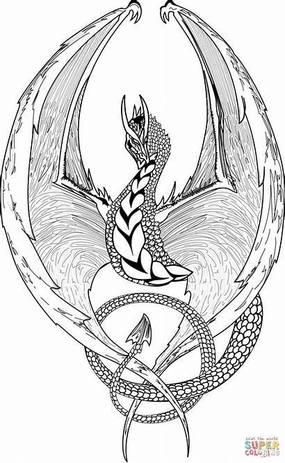 Tegninger Til Coloring Dragon Fantasy Farvelaegning
