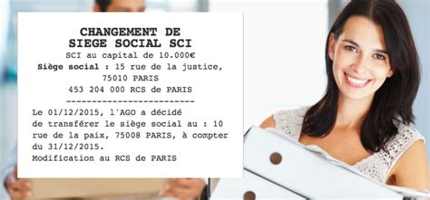 changement siege social sarl annonce légale de changement de siège social sci le