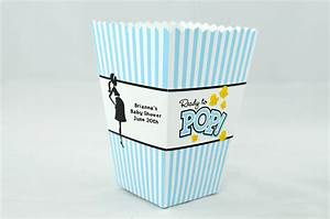 Ready to pop blue personalized baby shower popcorn boxes for Ready to pop popcorn boxes