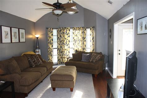 gray  yellow living room  place  home pinterest