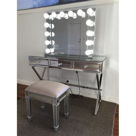 white desk with mirror and lights vanity makeup mirror with lights awesome white set table