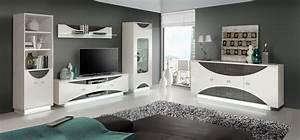 Wohnwand Weiß Holz : wohnwand mit sideboard weiss hochglanz eiche grau mit ~ A.2002-acura-tl-radio.info Haus und Dekorationen