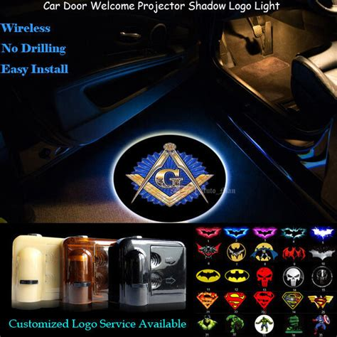 Door Projector Lights by 2pcs Free And Accepted Masons Logo Wireless Car Door Laser