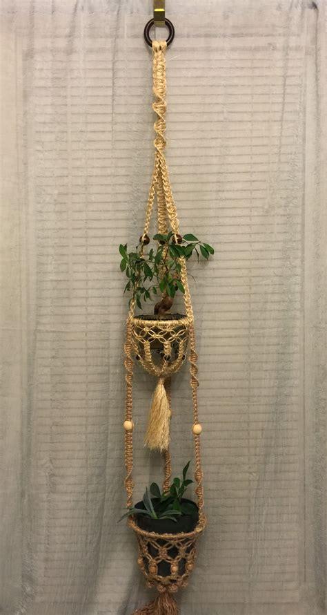 macrame plant hanger double natural jute sisal