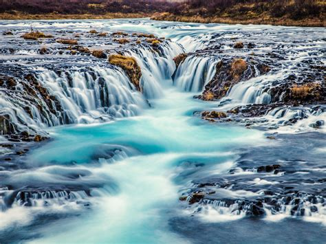 Bruarfoss Waterfall Turquoise Blue Water In Iceland Nature