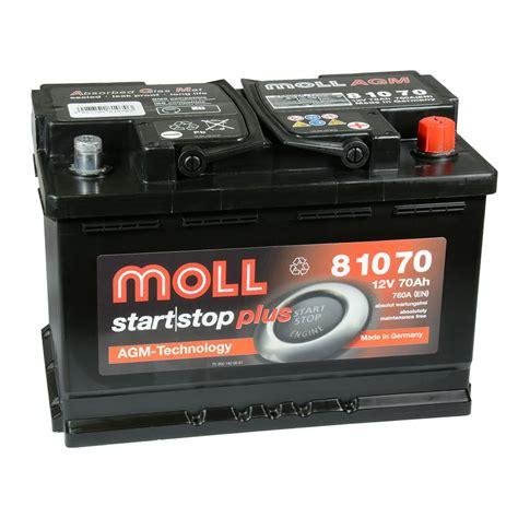 autobatterie start stop moll start stop plus agm 81070 12v 70ah autobatterie volvo