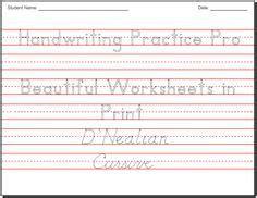 printable handwriting worksheets  kids images