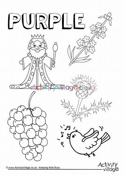 Purple Coloring Things Pages Colouring Worksheets Preschool