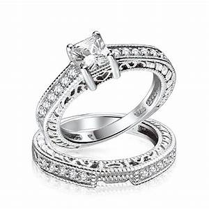 075ct 5mm CZ Sterling Silver Wedding Engagement Ring Set