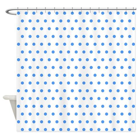 blue polka dot shower curtain by creativeconceptz