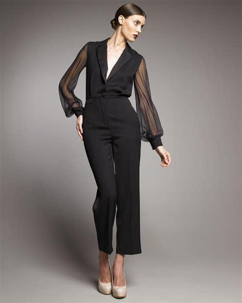 tuxedo jumpsuit laurent sheer sleeve tuxedo jumpsuit in black lyst