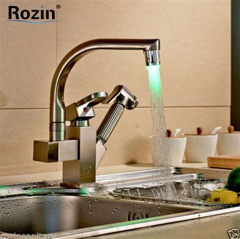 how to change out a kitchen faucet nickel brushed pull out color changing led kitchen faucet