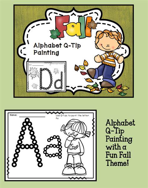 fall themed alphabet  tip painting   super fun