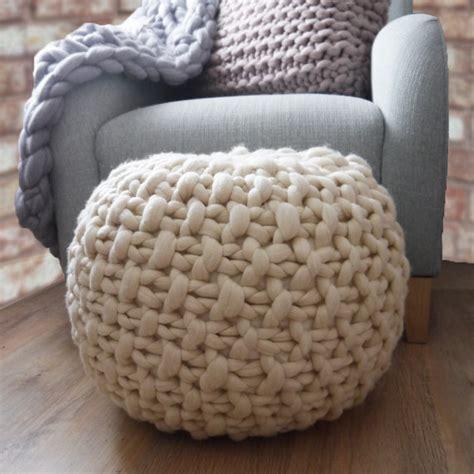 white knitted pouf ottoman footstool pouffe ottoman