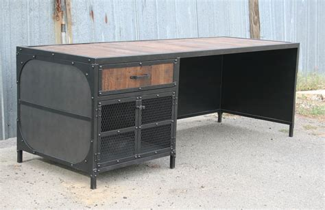 wood and steel desk reclaimed wood and steel desk the executive 7101