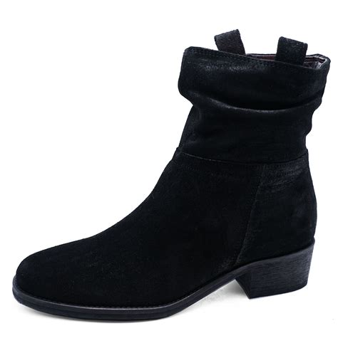fleece mid calf boots womens black genuine suede leather slouch black boots