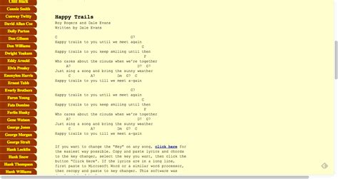 Who cares about the clouds when we're together? Happy Trails lyrics chords | Roy Rogers and Dale Evans ...